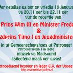 Receptie Prins Wim III en Minister Freddy & Jeugdprins Timo en Jeugdminister Niek